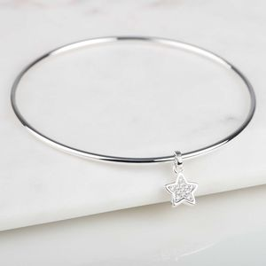 Sterling Silver Sparkly Star Bangle - bracelets & bangles