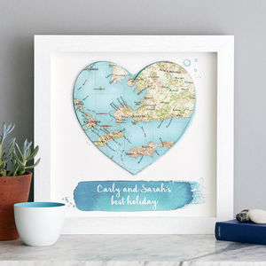 Personalised Watercolour Map Wedding Heart Large