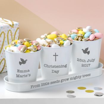 Personalised Christening White Pots And Tray