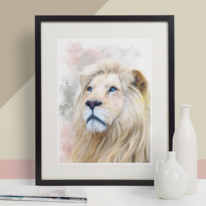 White Lion Animal Print, Wildlife Art Print