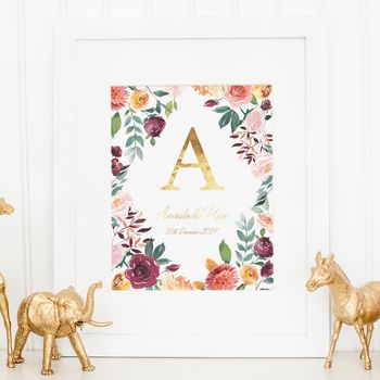 Watercolour Floral And Gold Foil Nursery Print