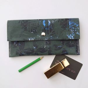 Large Leather Coin Purse - greenery