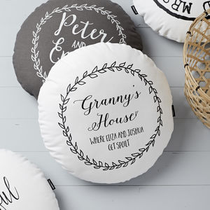 Personalised Round Grandparents House Wreath Cushion - winter sale