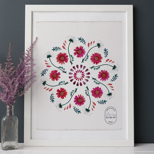 Birth Flower Mandala Personalised Print - for her