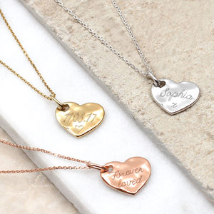 Personalised Precious Metal Hammered Heart Necklace - personalised