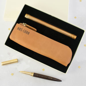 Pen And Pencil Case Set With Personalised Pencil Case