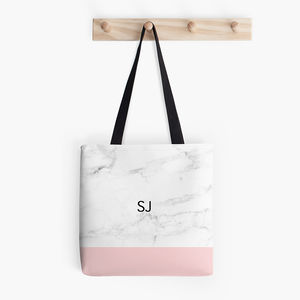 Personalised Marble Print Tote Bag - pink accessories