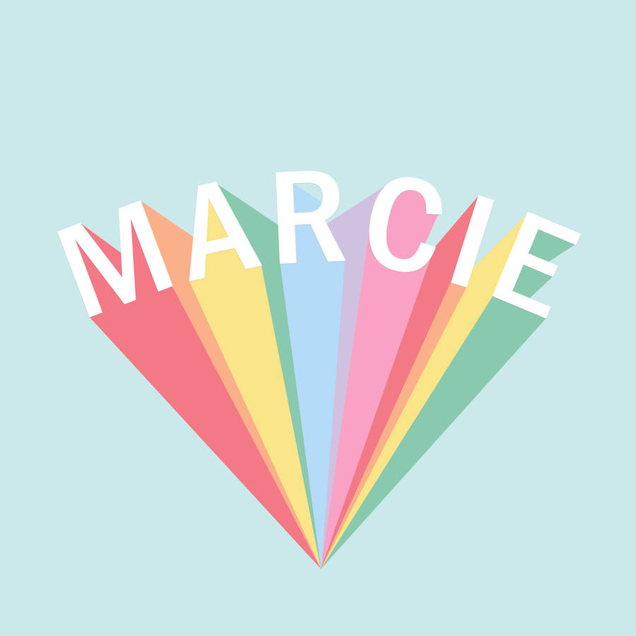 %name%: Personalised Rainbow Name Typography Print By Mai & Moo