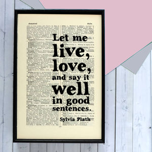 Sylvia Plath 'Good Sentences' Writer's Gift Quote Print - posters & prints