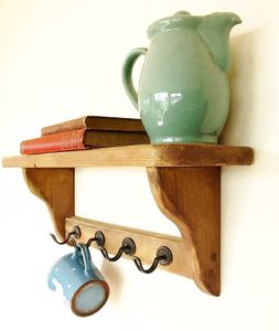 Country Cottage Open Back Shelf With Metal Cup Holders - living room