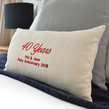 Personalised Ruby Wedding Metallic Embroidery Cushion