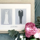 Wedding Day Couple Outfit Illustration