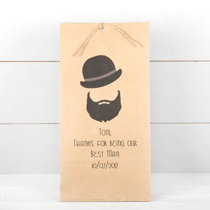 Best Man Personalised Gift Bag, Hat And Beard - ribbon & wrap