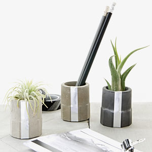 Concrete Silver Cylinder Air Plant Holder Set Of Three