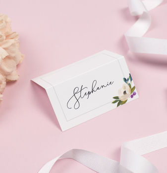 Grey Floral 'Sadie' Wedding Place Cards
