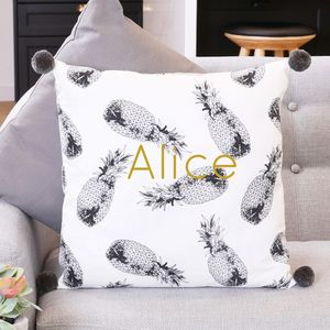 Personalised Monochrome Pineapple Pom Pom Cushion - baby & child sale