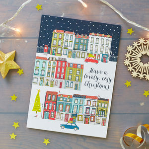 Snowy Town Scene Christmas Card Pack - winter sale