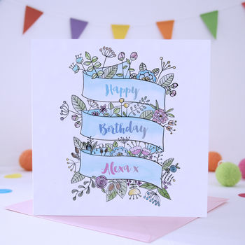 Watercolour Personalised Floral Banner Birthday Card