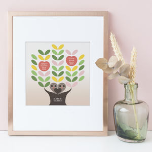 Personalised Family Tree Print Owls - family & home