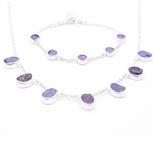 Amethyst And Tanzanite Necklace And Bracelet Set