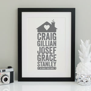 Personalised Home Family Print - gifts for families