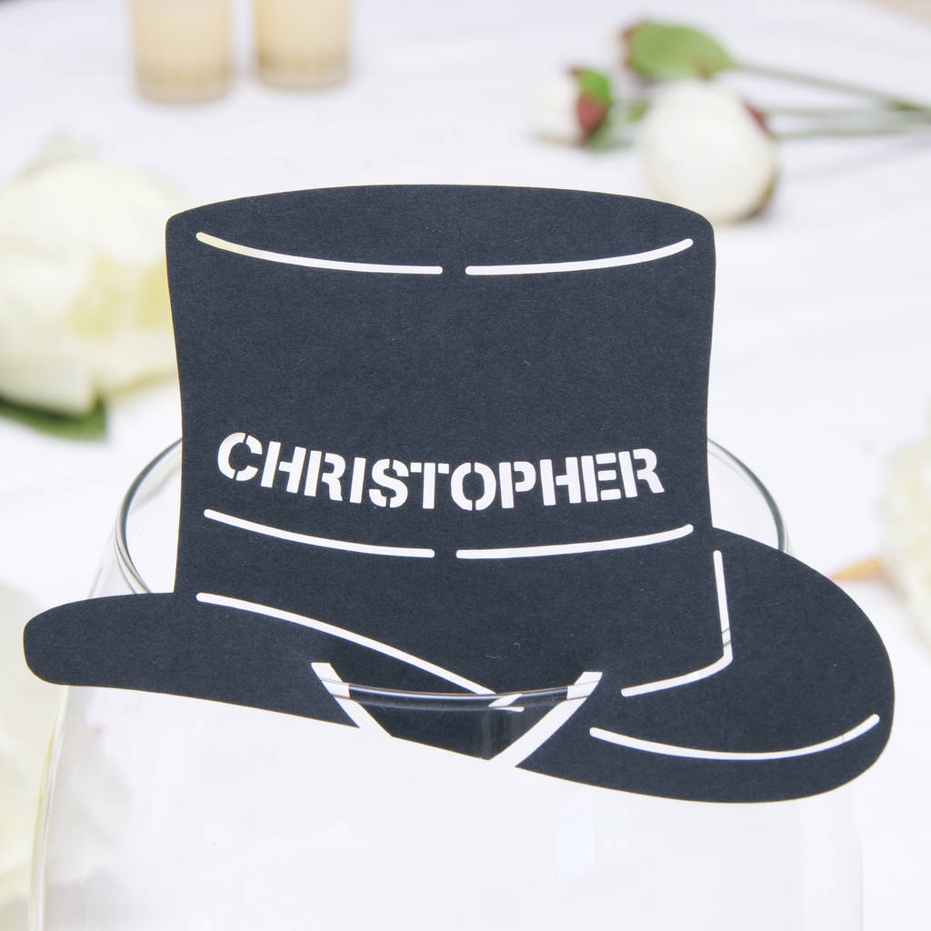 personalised top hat wine glass name place card by urban twist ... db93020ee9c