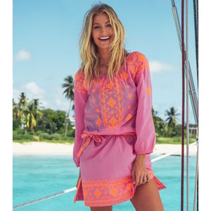 Elena Embroidered Cotton Beach Kaftan Pink/Orange - kaftans