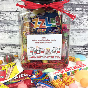Personalised Birthday Retro Treats Sweets Jar