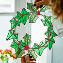 Stained Glass Holly And Ivy Wreath