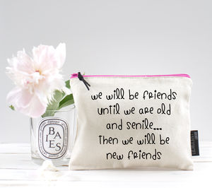 'We Will Be Friends Until We Are Old And Senile' Pouch - make-up & wash bags