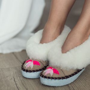 White Sheepskin Slippers With Pink Embroidery - keeping cosy