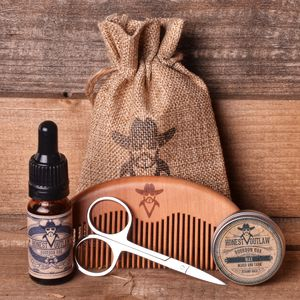 Beard Grooming Kit. Oil, Wax, Comb, Scissors