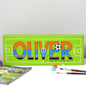 Football Name Canvas, Hand Painted