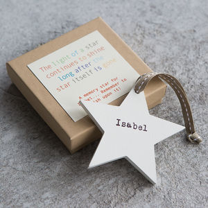 Personalised Wooden Memory Star - tree decorations