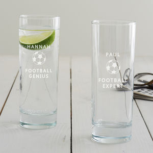 Personalised Football Hi Ball Glass - summer sale