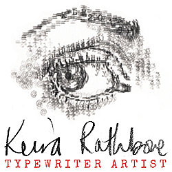 Keira Rathbone Typewriter Art Handwritten Logo with Typed Eye