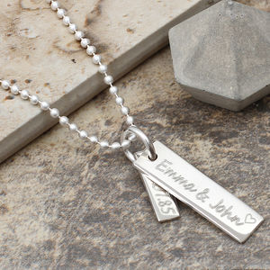 Men's Sterling Silver Double Bar Message Necklace