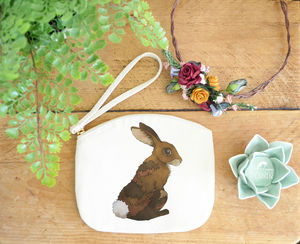 Bunny Rabbit Canvas Purse - make-up & wash bags