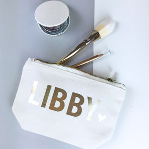 Personalised Name With Heart Make Up Bag - hen party ideas