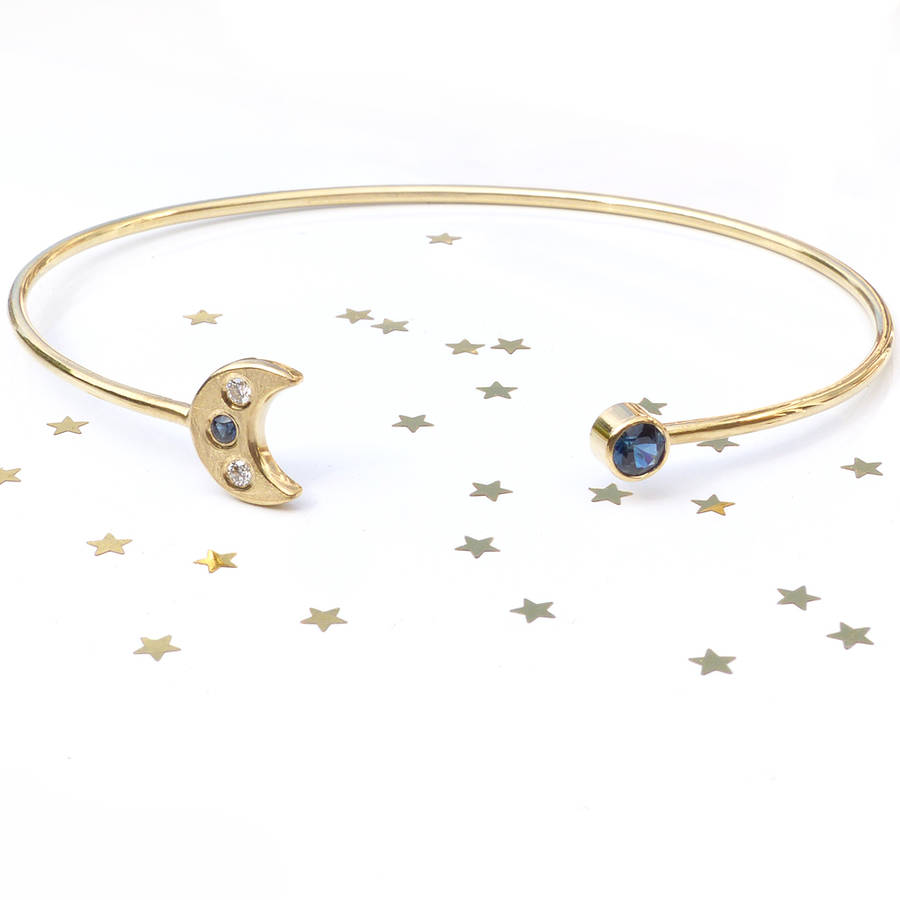 Moon And Stars Bangle In 18ct Gold
