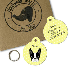 Boston Terrier Personalised Dog ID Tag - dogs