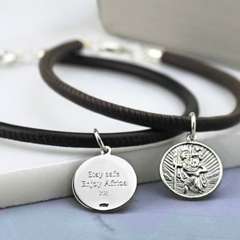 Silver St Christopher Leather Bracelet