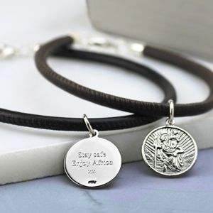 Silver St Christopher Leather Bracelet - jewellery sale