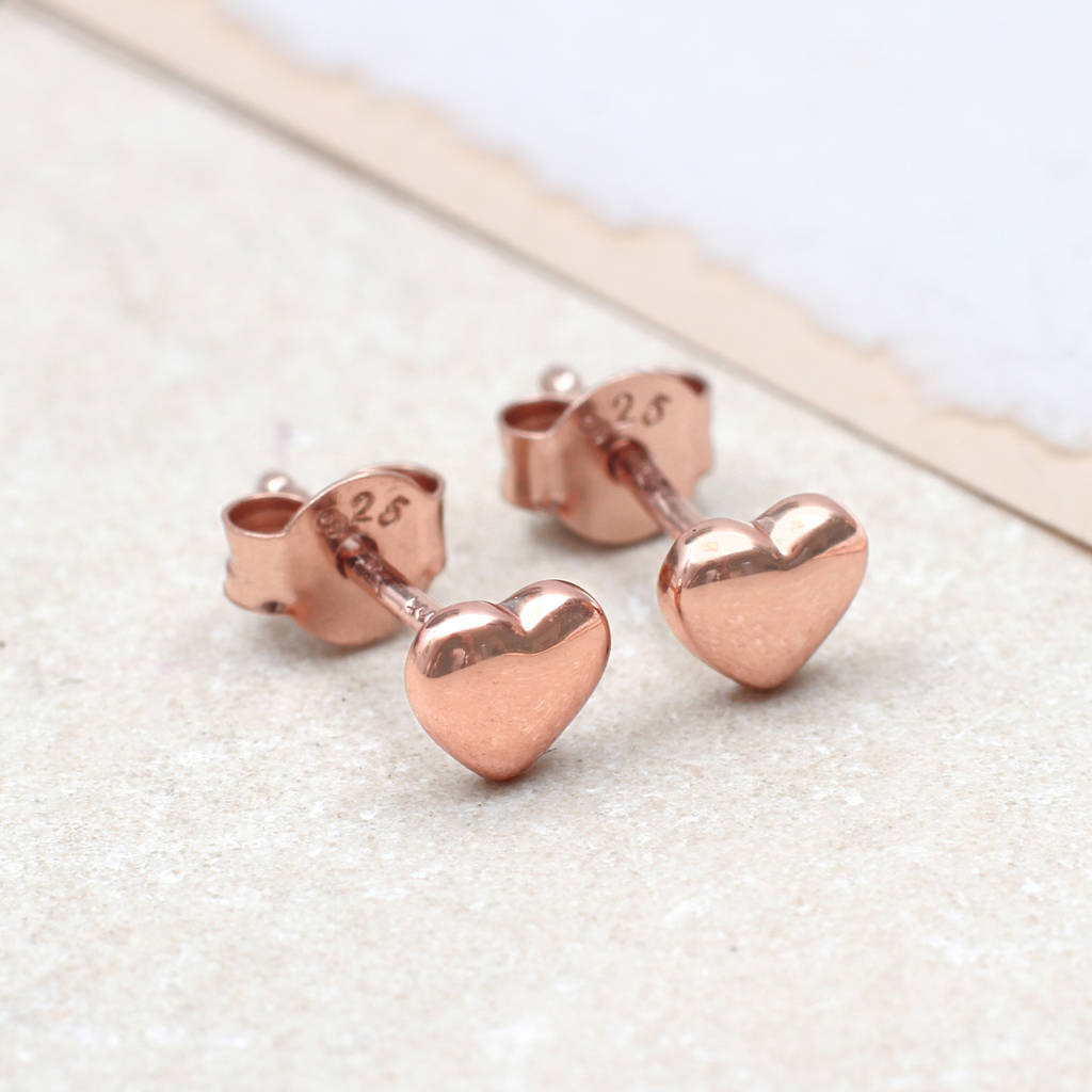 rose gold heart stud earrings by hurleyburley. Black Bedroom Furniture Sets. Home Design Ideas