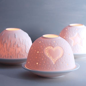 Luna Porcelain Tea Light Holders - festive scandi