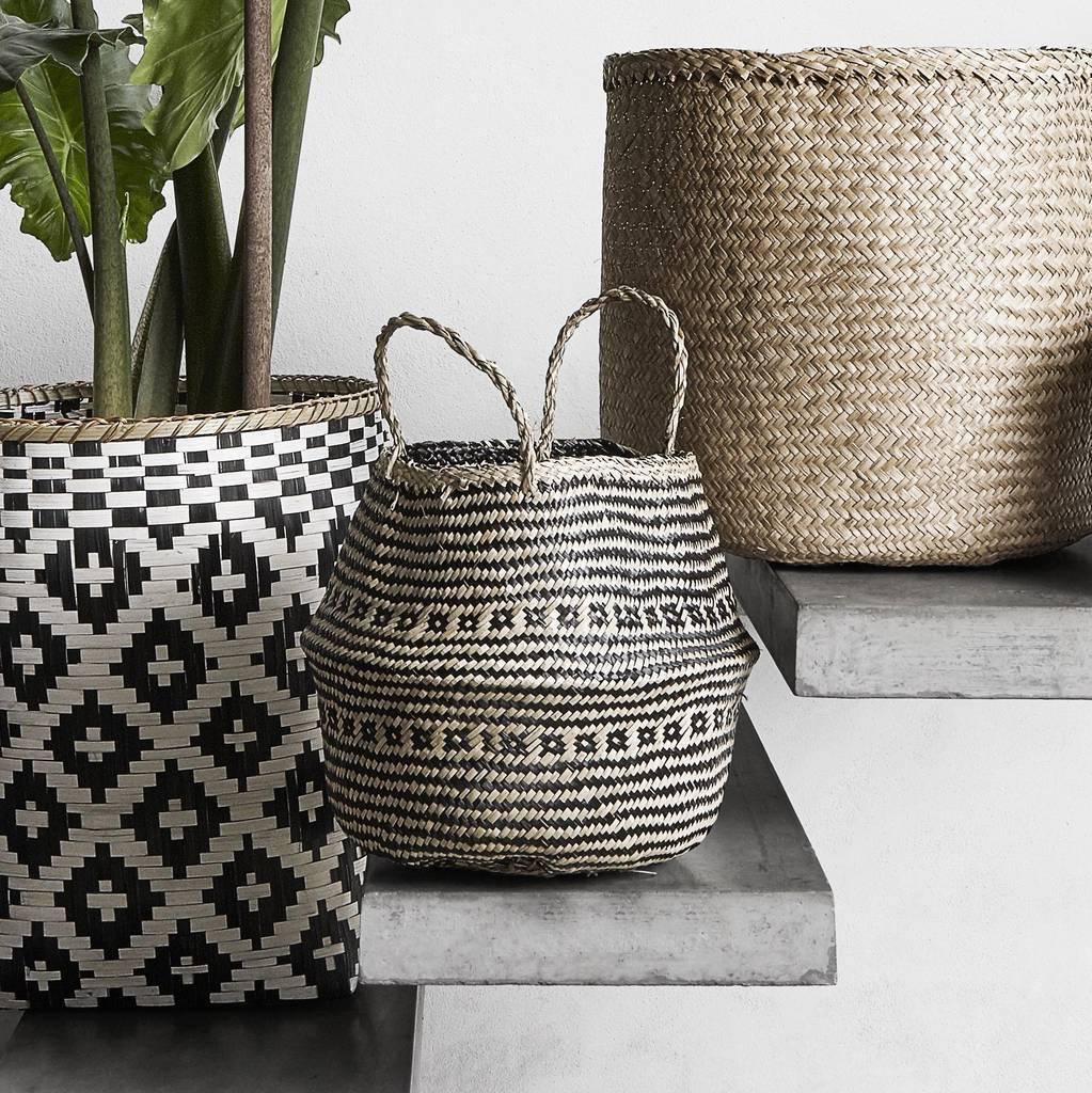Boho Seagrass Basket With Black Detailing by Peastyle