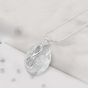 Eternal Love Knot Resin And Silver Oval Ashes Necklace - necklaces & pendants