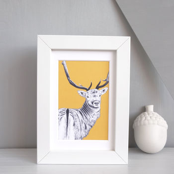 Stag Print 'The Stag Watcher' Framed