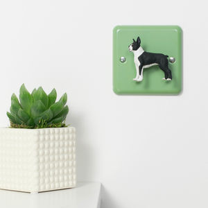 Boston Terrier Dog Green Metal Retro Light Switch