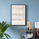 Copper on Natural Metallic Lyrics Print